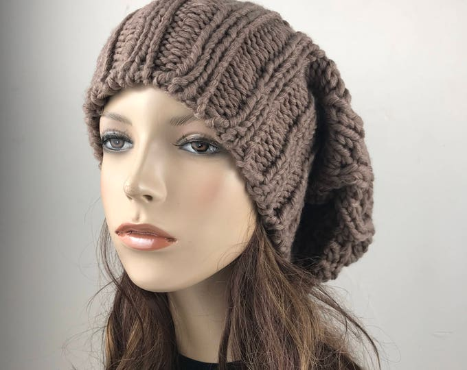 Hand knit woman man unisex hat - Oversized Chunky Wool Hat, slouchy Taupe hat, winter hat