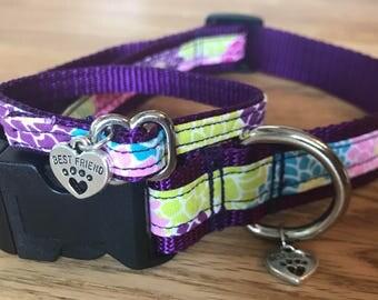 Best Friend Bracelet and Pet Collar Set in Dahlia floral print on Deep Purple Webbing.