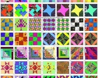 Quilt Block Drawings No.1 Digital Collage Sheet 1x1 Inch Squares 63 Different Images Scrapbooking