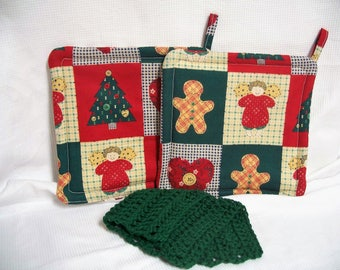 Christmas Pot Holders, Set of 2, With or Without Dishcloth, Trivet, Hot Pad, Red & Green Potholder, Insulated, Hostess Gift, Holiday Gift