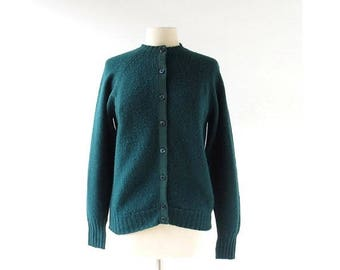 20% off sale Vintage Pendleton Cardigan | Forest Green Cardigan | 60s Sweater | M L