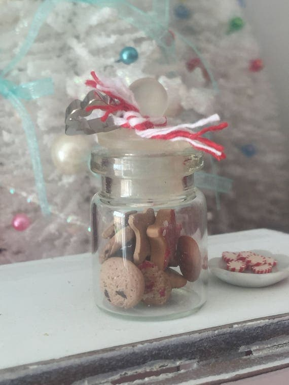 Miniature Glass Cookie Jar with Cookies and Cookie Cutter