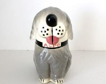 Alpo Dan The Dog Treat Jar, McCoy Ceramic Gray Sheep Dog