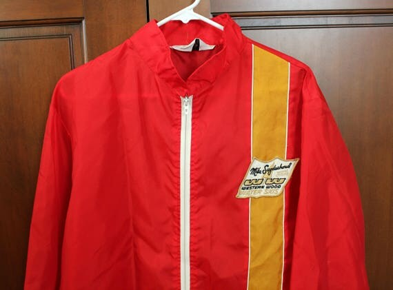 Vintage Mike Suyderhoud Jacket, Water Ski World Champ Western Wood Wind Breaker Jacket