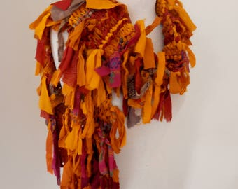 recycled silk  boho chic little tattered  scarf deep golden tumeric yellow and deep red shades handknitted by plumfish