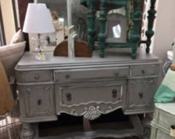Depression Sideboard in Soft Grey with Accents of White and Silver