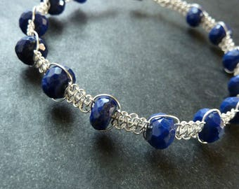 Lapis and Silver Bracelet -  Sterling Silver Micro Macrame Stacking Bracelet - Free Shipping