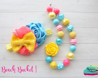Summer Chunky Necklace { Beach Bucket } yellow pink aqua first birthday chunky necklace, baby headband, cake smash photography prop