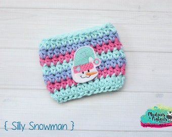 Winter Crochet Coffee cup cozy { Silly Snowman } pink, mint blue, Knit mug sleeve, tea Perfect for ceramic plastic cups, planner