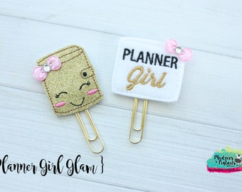 Planner Clip { Planner Girl Glam } black, pink gold Paper Clips, Stationary, Planner Supplies, gift, parade, party