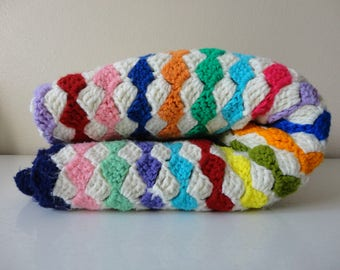 VINTAGE rainbow striped crochet AFGHAN