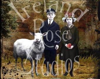 The Sibs ~ Altered Art/Mixed Media Greeting Card