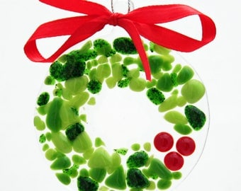 Glassworks Northwest - Festive Holiday Wreath - Fused Glass Ornament