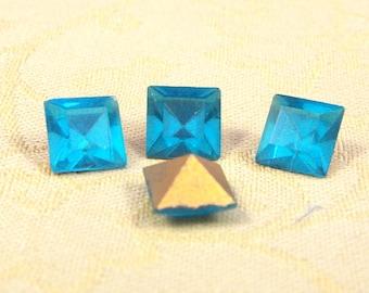 8mm, Square, Glass, Aqua Rhinestone Imperfect Foil Back, 4