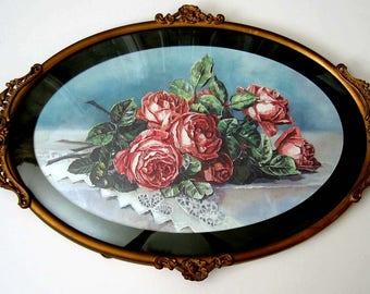 Roses, Print, Paul de Longpre, Antique Frame, Convex Glass, Art, Print, Shabby Chic, Vintage, Half Yard Long