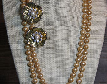 Vintage Double Strand Knotted Faux PEARL NECKLACE & Earrings- Vintage Pearls Costume Jewelry- Rhinestone- Estate Jewelry