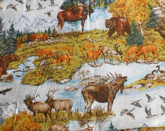 ROCKIES WILDLIFE FLANNEL Moose Bears Cubs Elk Bobcat Eagle Wolf Trees Natural Scenes Colors Lyndhurst Cotton Print 40 x 56 Men Boy Sewing