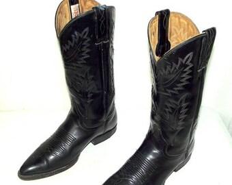 Black on Black Cowboy Boots mens size 10 D / womens 11.5 western rockabilly