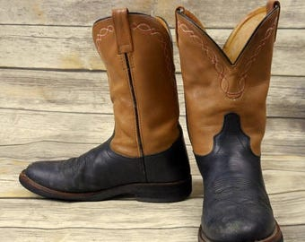 Old West Cowboy Boots Mens Size 9.5 D Tan Black Distressed Country Western Shoes