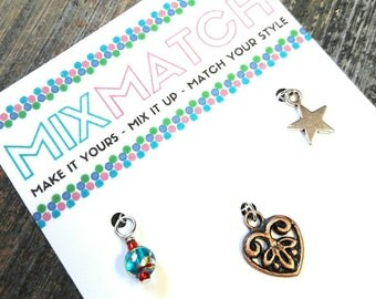 MIX MATCH - Charm Batch 1 - Turquoise Foil Glass Bead, Copper Filigree Heart & Silver Star