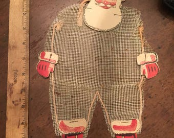 Antique vintage Christmas mesh santa candy container