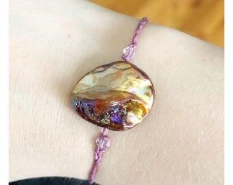 Adjustable Mauve shell bracelet