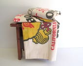 Vintage Muslin Rice Sack Extra Large Bag Homan California CalRose Rice Bright Graphics Red Black Yellow Craft Supply NOS