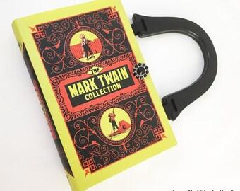 Tom Sawyer Book Purse - Huckleberry Finn Book Cover Handbag - Prince and Pauper Book Clutch - Mark Twain Book Purse - Reader Gift - Handbag