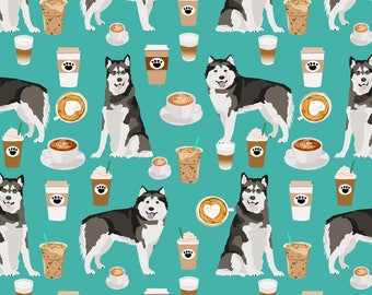 Caffeinated Alaskan Malamutes Fabric - Alaskan Malamute Turquoise By Petfriendly - Espresso Cotton Fabric by the Yard with Spoonflower