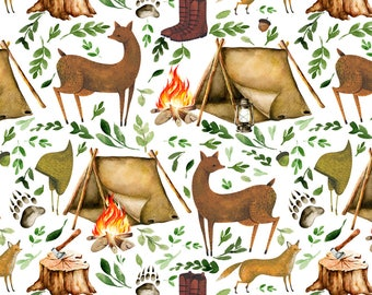 Woodland Camping Fabric - Let's Go Camping By Shopcabin - Camping Hiking Nature Tent Outdoors Cotton Fabric By The Yard With Spoonflower