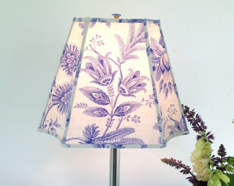 """French Blue Toile Lampshade, Rectangle Inverted Corner Lampshade, Vintage French Fabric, 6""""t x 11""""b x 8.5""""h, Rare Fabric - Killer Color!"""