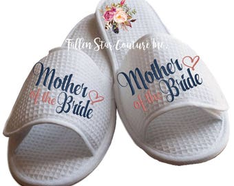mother of the bride slippers, bridesmaid slippers , bridesmaid gifts , waffle slippers , mother of the bride gifts