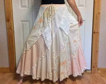 Peach Floral Maxi Skirt/Long Maxi Skirt/Off White Lace/Boho/Gypsy/Antique/Upcycled Recycled Repurposed Clothing/Womens Size LG-XL