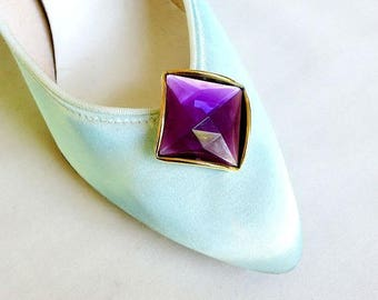 SALE Cut & Faceted Purple Stone Shoe Clips Vintage