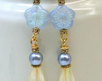 Vintage German Blue Pressed Glass Flower Bead Earrings, Vintage Iridescent Crystal Teardrop, Vintage Lucite Blue Pearls