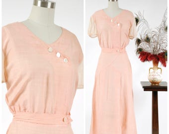 Vintage 1930s Dress - Charming Pink Slubbed Raw Silk Early 30s Day Dress with Sheer Sleeves