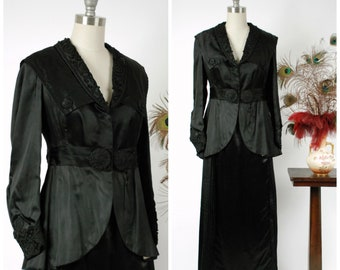 Vintage Edwardian Suit - Sophisticated Edwardian Silk Suit in Glossy Black with Soutache and Pleated Skirt