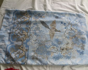 Vintage Pair of Floral Pillowcases / blues Asian Design and Pheasant / Shabby Chic Cottage / St Michaels  UK / rEMIX bEDDING / Standard size