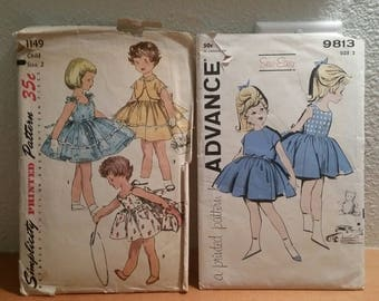Two Vtg Childrens 1950s Patterns Simplicity 1149 Advance 9813 / Girls Size 2 / Dresses  / 1950s pattern / pattern instructions
