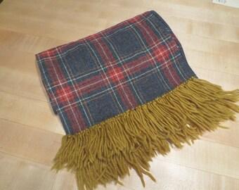 """Vtg Plaid Wool Scarf / Yarn Trim / 12"""" wide 80"""" long / grey red flannel / gold yarn trim"""