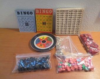 Vtg Bingo Cards and Pieces / Cardboard Bingo Cards Embossed Markers Bingo Wheel Plastic Markers Pegs / 1940s Bingo Pieces / Altered /