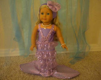 4-pc Lavender Mermaid Outfit For American Girl Doll or Most 18 inch Doll