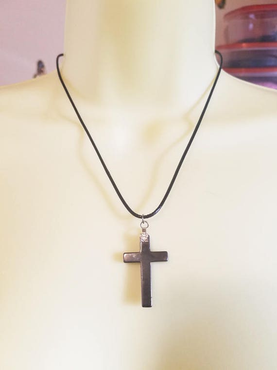 black hematite stone cross necklace gemstone pendant cross pendant cord necklace handmade unisex mens womens jewelry