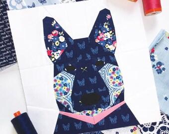 """German Shepherd Dog #24 Block PDF Paper Piecing Pattern 10"""" x 10"""" finished"""