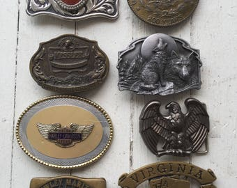 Belt Buckles / Western Belt Buckles / Lot of 8 / USA Made / Americana / Work Wear