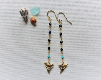 Shark tooth earrings - long 14k gold fill wire wrapped gemstone dangles - lapis lazuli, turquoise, & shark tooth earrings - beach jewelry