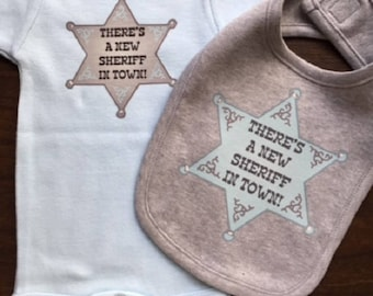 There's a New Sheriff in Town Bodysuit & Bib Set, Bib Set, Boys bodysuit, Gift Set, shower gift