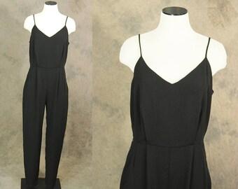 vintage 80s Jumpsuit - 1980s Minimalist Black Jumpsuit Sleeveless Romper Playsuit Sz M