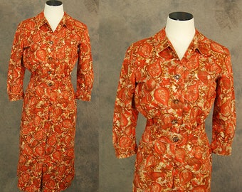 vintage 50s Dress - Red Orange Abstract Paisley Dress 1950s Shirt Dress Sz S