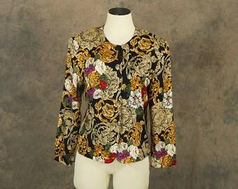vintage 80s Blouse - 1980s Boho Tapestry Shirt Sz S M
